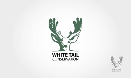 White Tail Conservation Vector Logo Illustration. Artistic vector logo silhouette of a white tail.