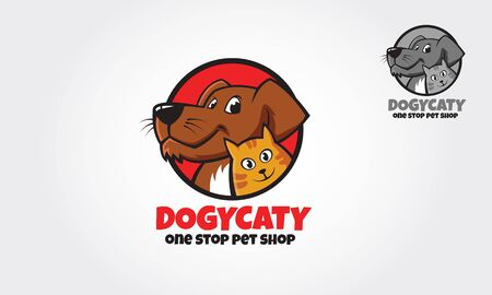 DogyCaty Logo Cartoon Character. Logo template made on Animals or pets theme with simple contents. Unique cartoon design for blog, hotel, pet shop, veterinary clinic, etc.