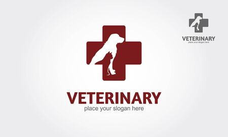 Veterinary Vector Logo Template. Isolated red veterinary cross and pets on white background.
