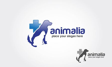 Animalia Vector Logo Template. Blue medical veterinary round sign with pets.