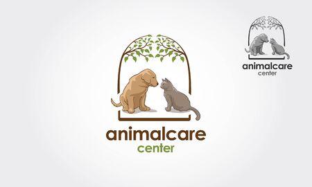 Animal Care Center Vector Logo Template. Pets logo vector illustration. Ilustração