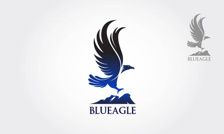 Blue Eagle Vector Logo Template. Vector illustration Blue Eagle flew as a symbol or logo of the company.  イラスト・ベクター素材
