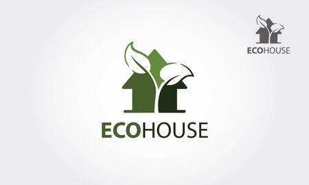 Eco House Vector Logo Template. The main symbol of the logo is a leaves incorporate with the house. This logo symbolizes a neighborhood, growth, care, development, ecological & environment concept. Çizim