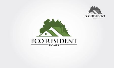 Eco Resident Vector Logo Template. Vector logo design template of oak tree and house that made from a simple silhouette of tree. it's good for symbolize a property or housing business. Logo