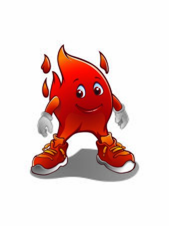 A Flame Vector Illustration or fire mascot cartoon character isolated on white background. Happy cartoon flame character. Illustration