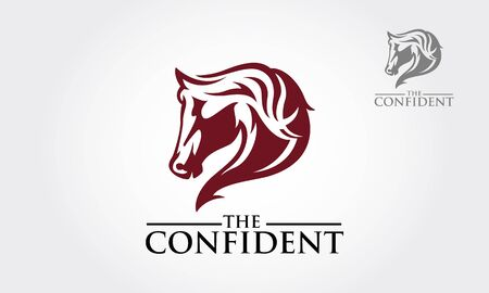 The Confident Vector Logo Template. Red horse head for mascot or logo design. Vector illustration.