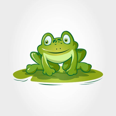Nice Frog Cartoon Character. This is a frog cartoon animal sitting on lotus leave, it's ready to jump