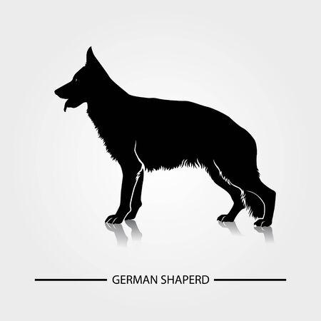 German Shepherd dog silhouette vector illustration. Foto de archivo - 149183369