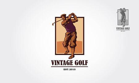 Vintage Golf Vector Logo Template. Vintage logo illustration with a man golf player. Illustration