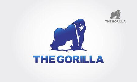 The Gorilla Vector Logo Template. Gorilla for the symbol. Artistic silhouette of wild animals. Logo Illustration. Foto de archivo - 149183370