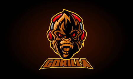 Gorilla Mascot Logo Illustration, serious gorilla head in the headphones on a black background. Vectores