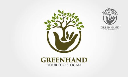 Green Hand Vector Logo Template. This logo that combine hand with green leaf that means healthy life, good for health company, green activist, charity organization, social community activities, etc.