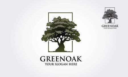 Green Oak Vector Logo template. Clean, luxury and modern style on white background.