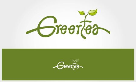 Green Tea Vector Logo Template, made in bright hand writing organic style. Logo Template is an good logo template suitable for office, organization, cafe, restaurant, coffee.