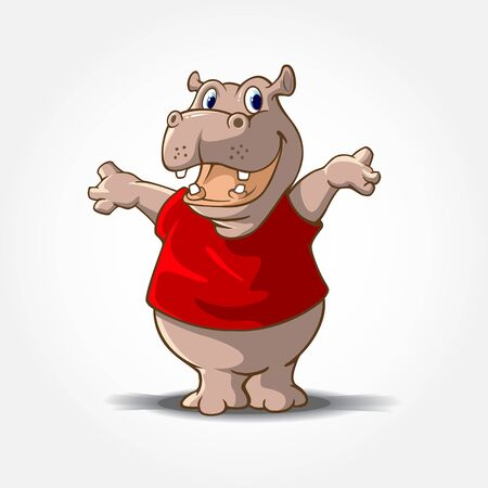 Hippopotamus Mascot Cartoon Character. This is a Hippo Cartoon animal with red shirt, it's look like said