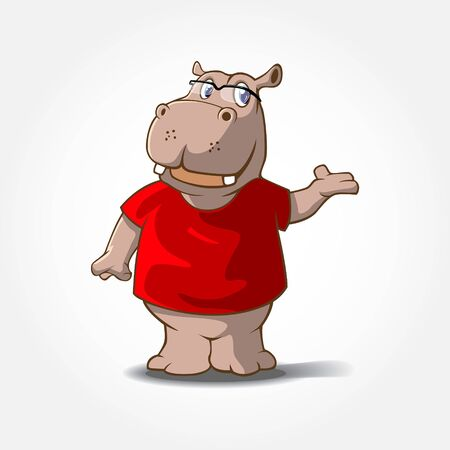 Hippopotamus Mascot Cartoon Character. This is a Hippo Cartoon animal with red t-shirt, it's look like over a goodness.