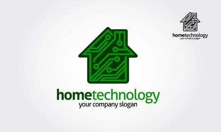 Home Technology Vector Logo Template. This logo is suitable for chip, home, technology, science, it, electronics, software, digital, engineering, house plan, building, property logos. Vectores