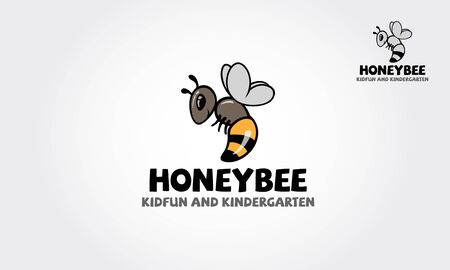 Honey Bee Kidfun And Kindergarten Vector Logo Template. Honey isolated logo illustration. Bee design vector template linear style.