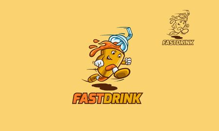 Fast Drink Logo Cartoon Character. Vector illustration of takeaway fast drink running. Creative mascot cartoon drink concept. Illustration