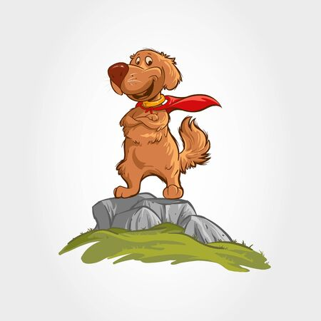 Dog Mascot Cartoon Character. The dog vector cartoon illustration stands on the rocks with a super hero costume. Vectores