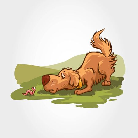 Dog Vector Cartoon Character. Mascot illustration of dogs play with worms in the field.