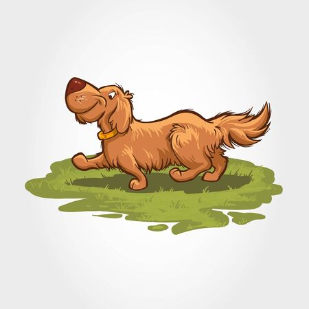 Cartoon characters of dog playing and running on a grass field. Mascot vector illustration.
