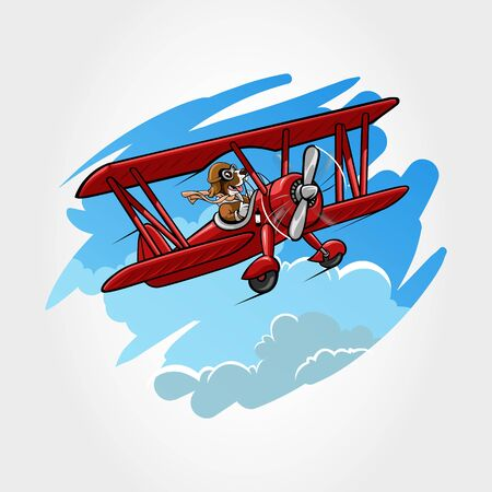 Cute little dog mascot animal flying drive a airplanes. Cartoon vector illustration isolated on sky and cloud background. Vectores