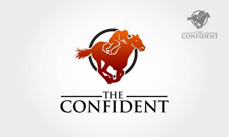 The Confident Vector Logo Template. Silhouette of horse races, vector logo illustration.