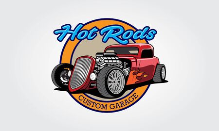 Hot Rods Custom Garage Vector Logo Template. Vector logo design with illustration of hot rods. Vectores