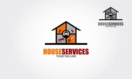House Services Vector Logo Iconic. Some tools used for home maintenance works. Vector logo illustration. Illustration