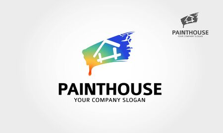 Paint House Vector Logo Template.  Paint house logo design for real estate, symbolize a building or property.