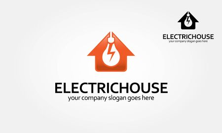Electric House Vector Logo Template. Home Idea Logo is an excellent logo template suitable for your company. Lighting bulb shaped smart home sign icon, smart house logo vector  on white background. Vectores