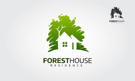 Forest House Residence Logo Illustration. Vector logo design template of forest and house that made from a simple scratch. Building vector silhouette. Vectores