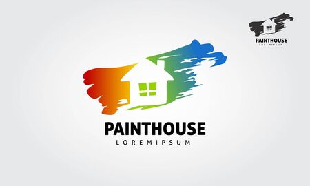 Paint House Vector Logo Template. House painting service, decor and repair color icon. Vector logo, label, emblem design. Concept for home decoration, building, house construction and staining.