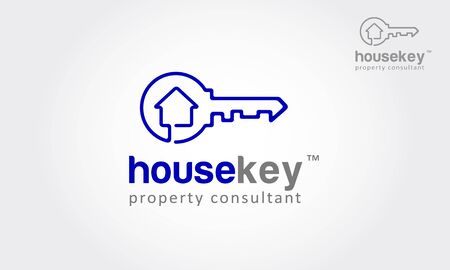 House Key Vector Logo Template. Vector logo design element on white background. Real estate, key, house or home made from one direction line. it's modern, simple and clean design.