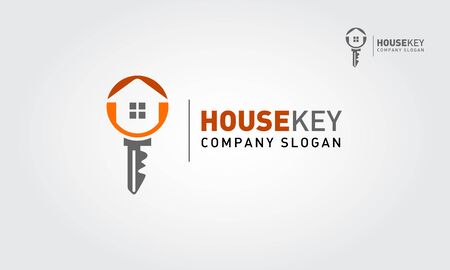 House Key  Vector Logo Template. A modern house logo with keys for real estate related business and services. It's made by simple shapes although looks very professional.