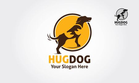 Hug Dog Vector Logo Illustration. Dog silhouette with spot on the body, but the spot could be as a human hand who hold the dog. it's good for Pet logo, veterinary, or dog lover logo. Vectores