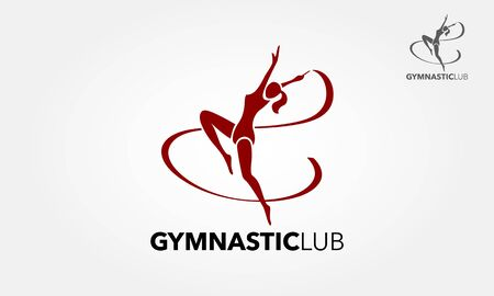 Gymnastic Vector Logo Template. Young gymnast woman with ribbon silhouette, performing rhythmic gymnastics element, jumping doing split leap in the air, isolated on white background Illustration.