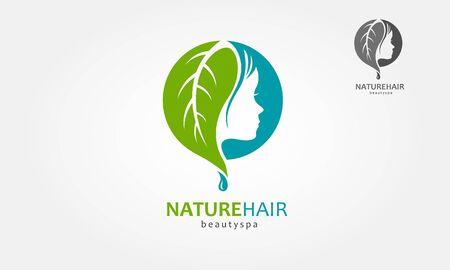 Nature Hair Vector Logo Illustration. Hair Salon Logo Design concept for beauty salon Foto de archivo - 150286672