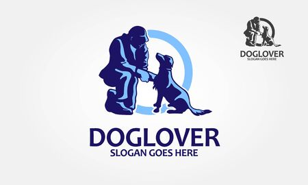 Dog Lover Vector Logo Template. Vector silhouette of people with dog on a white background. Vector logo illustration.