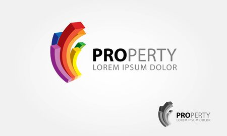 Property Vector Logo Template. 3D Abstract color curve bar symbolize a building or property. Vector logo multicolor illustration.