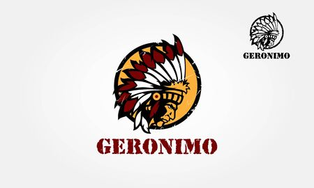 Geronimo Vector Logo Illustration. Logo illustration of a native american indian chief done in circle retro style on isolated white background. Vectores