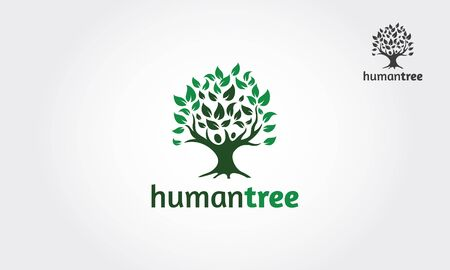 Human Tree Vector Logo Template. Human tree  isolated on white background.
