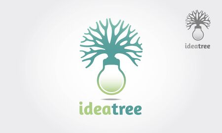 Idea Tree Vector Logo Template. The basic of the logo is a tree incorporate with bulb it's good for idea concept. Vectores