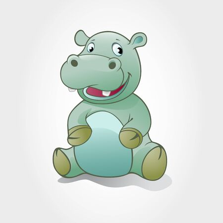 This is a hippo baby cartoon character. Vector illustration of hippo baby animal. Vectores