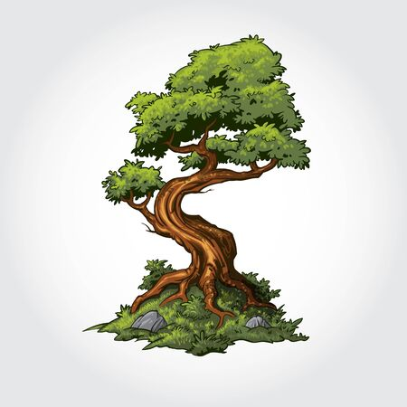 Tree Vector Cartoon Illustration. Green tree or Eco nature concept illustration.