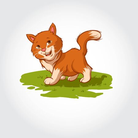 Cartoon characters of cat playing and running on a grass field. Mascot vector illustration. Illustration