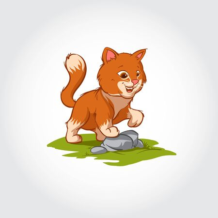 Cat Vector Mascot Character. This Vector Cartoon illustration Cat Posing on the Rock.