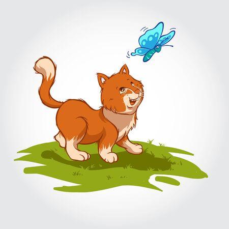 Cat Vector Cartoon Character. Cute plump kitten chasing a blue butterfly in the grass. Foto de archivo - 150214732