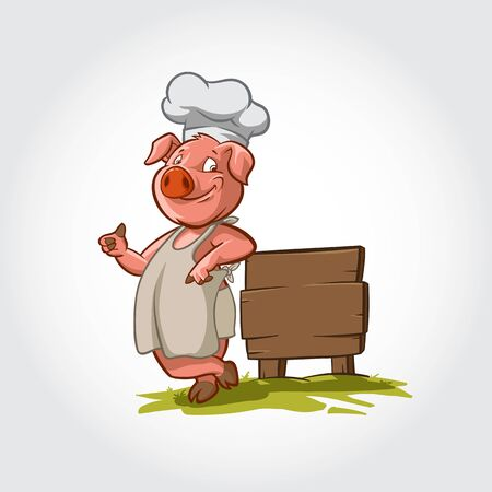 Pig Chef Smilling Mascot Cartoon Character. This pig vector illustration lean next to a wooden plank and give a thumbs up.